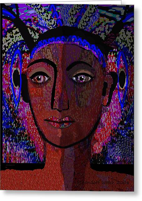 447 - Dark Lady Greeting Card by Irmgard Schoendorf Welch