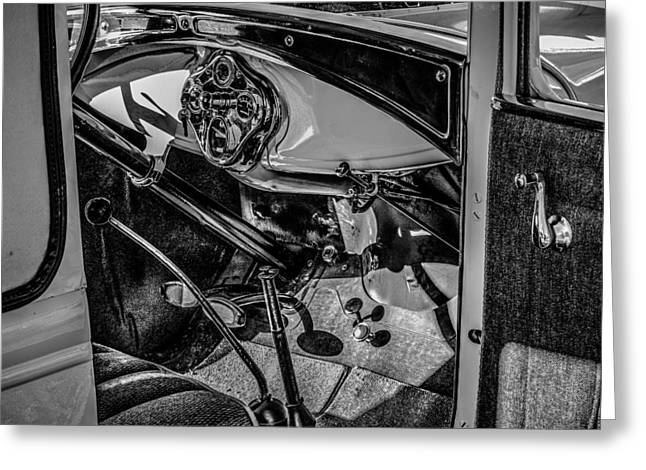 Ford Model A In Black And White Greeting Card by Steve Knievel