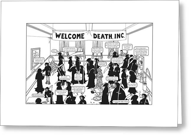 Welcome Death Greeting Card by Alex Gregory