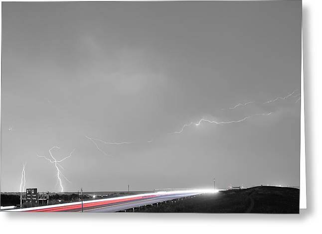 47 Street Lightning Storm Light Trails View Bwsc Greeting Card by James BO  Insogna