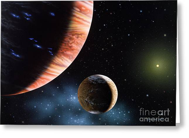47 Ursae Majoris B And Moon Greeting Card