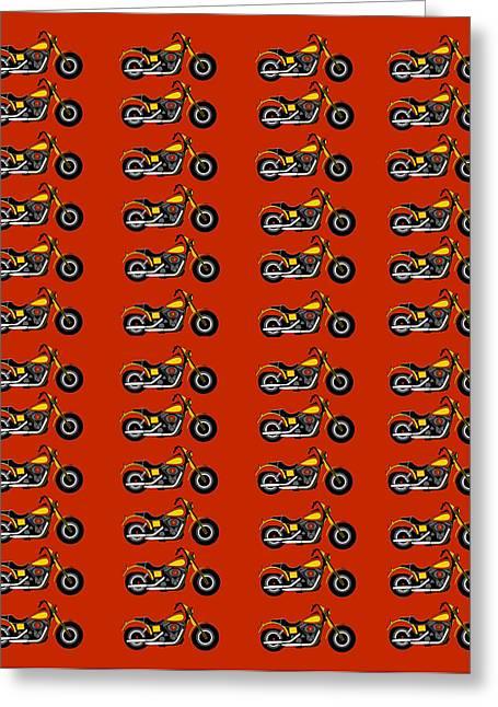 48 Harlies On Dark Red Greeting Card by Asbjorn Lonvig