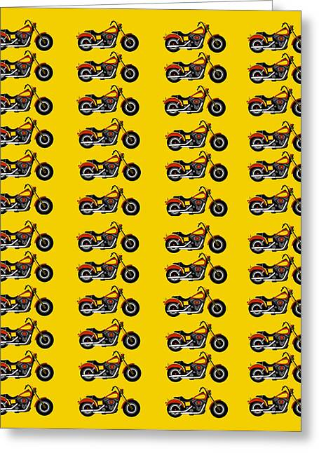 48 Harlies On Dark Yellow Greeting Card by Asbjorn Lonvig