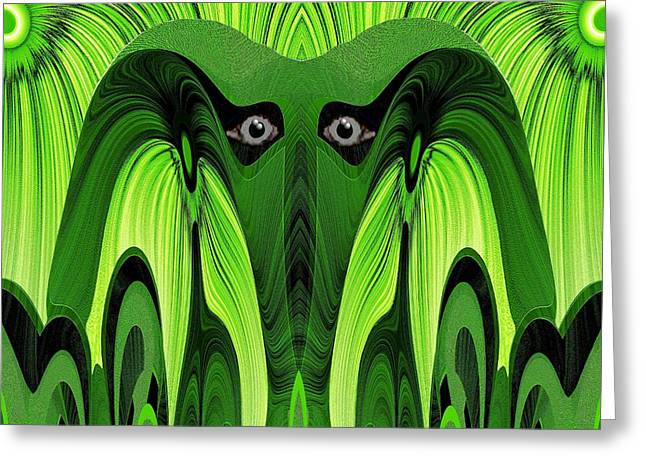 482 - Green Ghost Of The Woods Greeting Card by Irmgard Schoendorf Welch