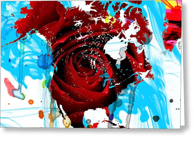 48x46 Beautiful World - Rose Red Signed Art Abstract Paintings Modern  Www.splashyartist.com Greeting Card