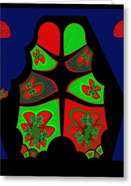 492 - Strawberry Sculpture Greeting Card by Irmgard Schoendorf Welch