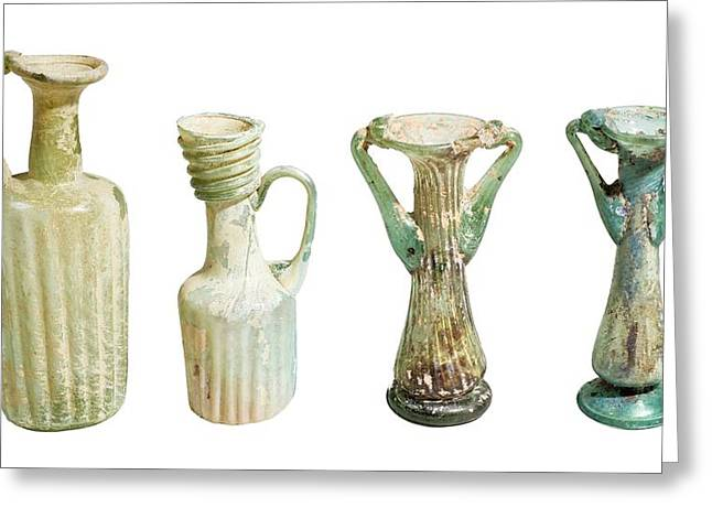 4th Century Glass Juglets And Bottles Greeting Card