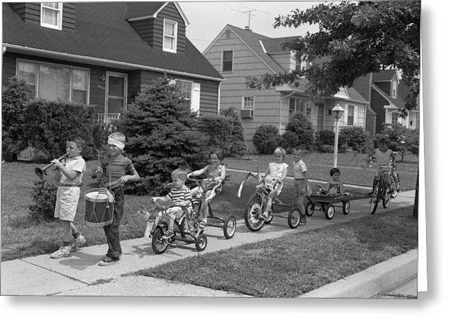 4th Of July Bike Parade Of Boys Greeting Card