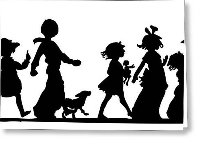 Greeting Card featuring the digital art 4th Of July Childrens Parade Panorama by Rose Santuci-Sofranko
