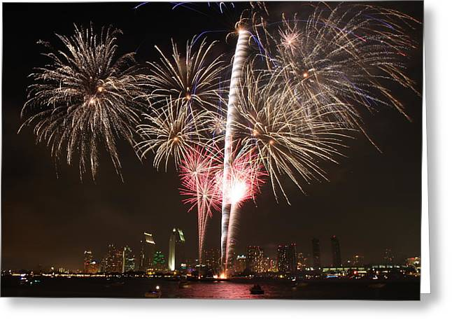 4th Of July Fireworks Over Downtown San Diego Greeting Card