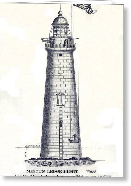 1852 Minot's Ledge Lighthouse Greeting Card by Jon Neidert