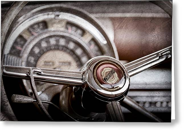 1949 Chrysler Town And Country Convertible Steering Wheel Emblem Greeting Card by Jill Reger