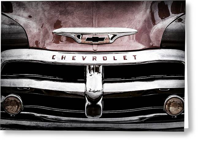 1955 Chevrolet 3100 Pickup Truck Grille Emblem Greeting Card by Jill Reger