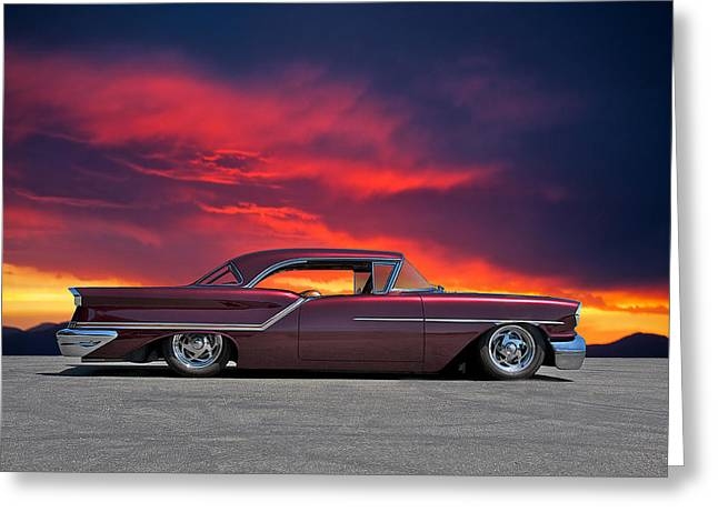 1957 Oldsmobile Custom Greeting Card by Dave Koontz
