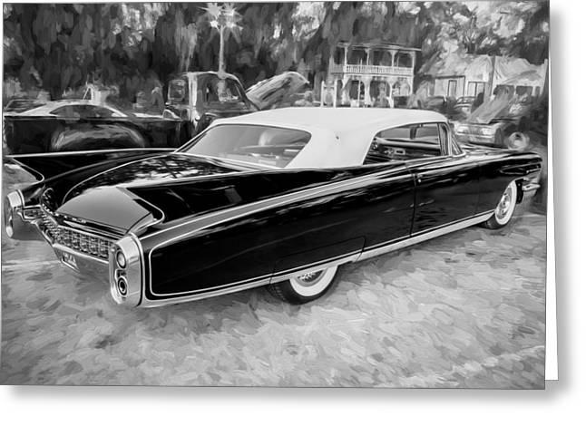1960 Cadillac Eldorado Biarritz Convertible Painted Bw  Greeting Card