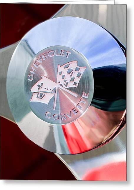 1960 Chevrolet Corvette Steering Wheel Emblem Greeting Card by Jill Reger