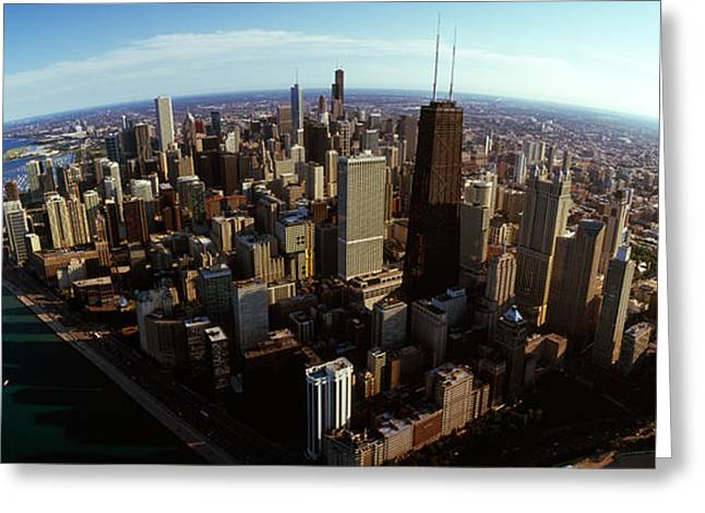 Aerial View Of A City, Chicago, Cook Greeting Card by Panoramic Images