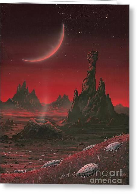 Alien Planet, Artwork Greeting Card by Richard Bizley
