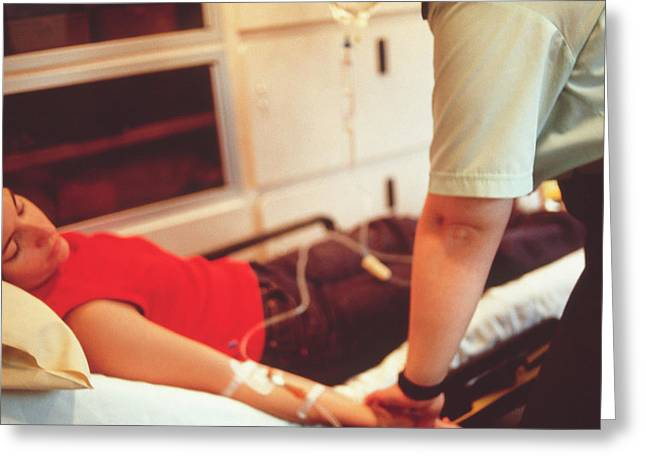 Ambulance Treatment Greeting Card by Annabella Bluesky/science Photo Library