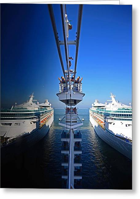 Arriving On A Cruise Ship At Port Greeting Card