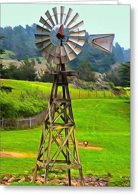 Painting San Simeon Pines Windmill Greeting Card