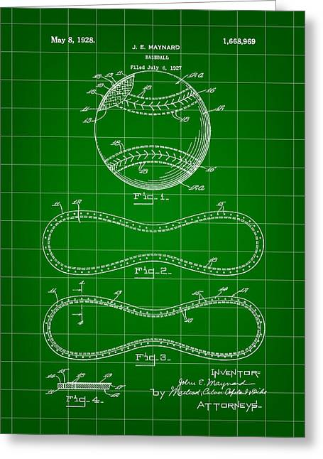 Baseball Patent 1927 - Green Greeting Card by Stephen Younts