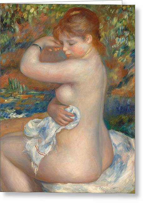 Bather Greeting Card by Pierre Auguste Renoir