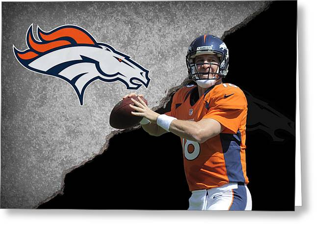 Broncos Peyton Manning Greeting Card by Joe Hamilton