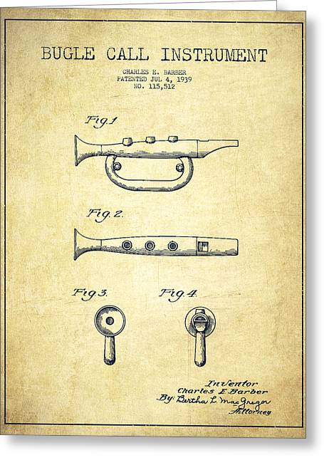 Bugle Call Instrument Patent Drawing From 1939 - Vintage Greeting Card by Aged Pixel