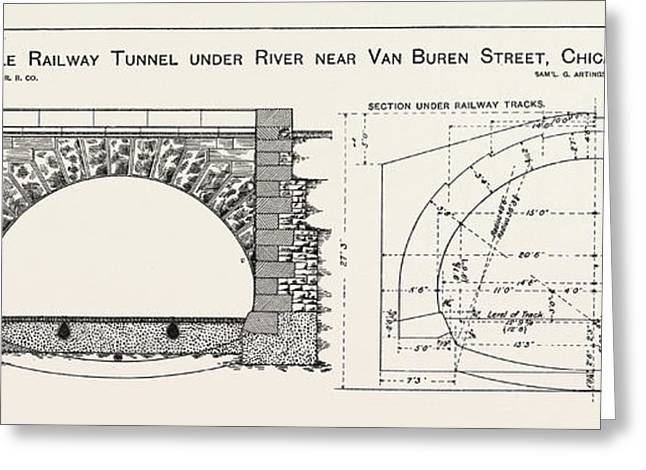 Cable Railway Tunnel Under River Near Van Buren Street Greeting Card by American School