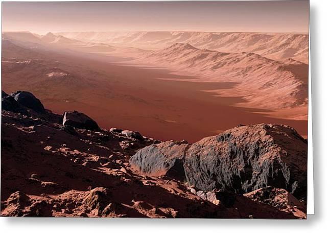 Canyons On Mars Greeting Card by Detlev Van Ravenswaay