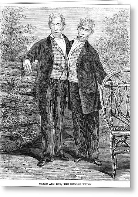 Chang And Eng (1811-1874) Greeting Card by Granger