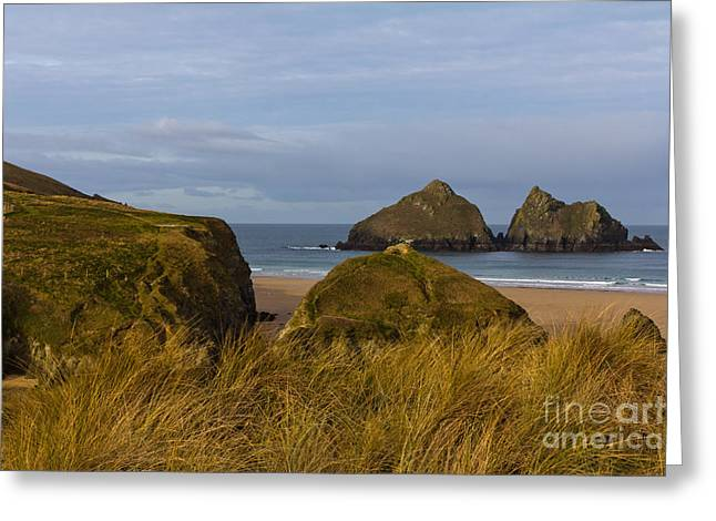 Cornish Seascape Holywell Bay Greeting Card by Brian Roscorla