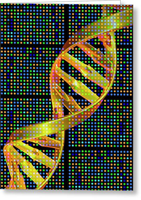 Dna Microarray And Double Helix Greeting Card