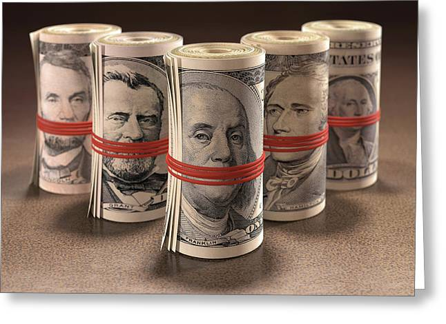 Dollar Bills Rolled Up Greeting Card by Ktsdesign