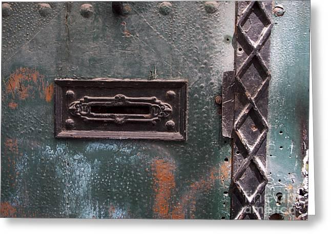 Door With Peeling Paint Greeting Card