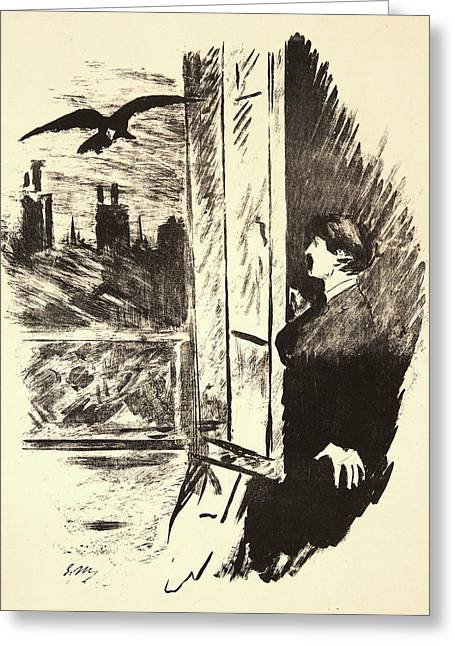 Édouard Manet French, 1832 - 1883. The Raven Le Corbeau Greeting Card by Litz Collection