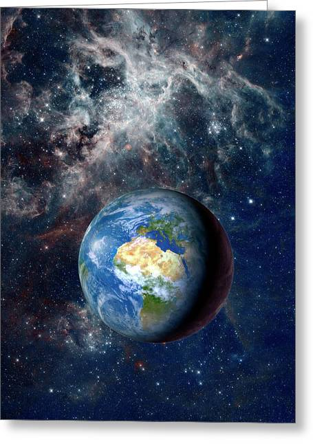 Earth From Space Greeting Card by Detlev Van Ravenswaay