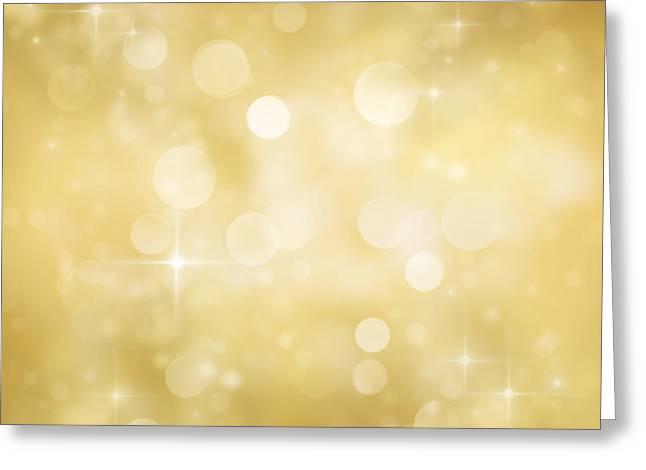 Festive Bokeh Background Greeting Card by Mythja  Photography