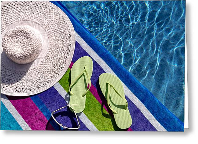 Flip Flops By The Pool Greeting Card