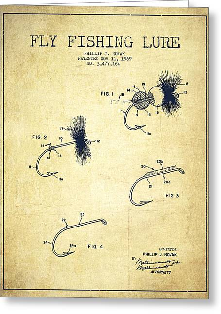 Fly Fishing Lure Patent Drawing From 1969 Greeting Card