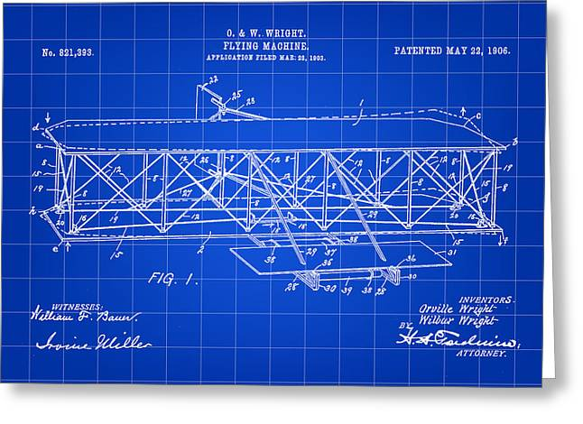 Flying Machine Patent 1903 - Blue Greeting Card by Stephen Younts