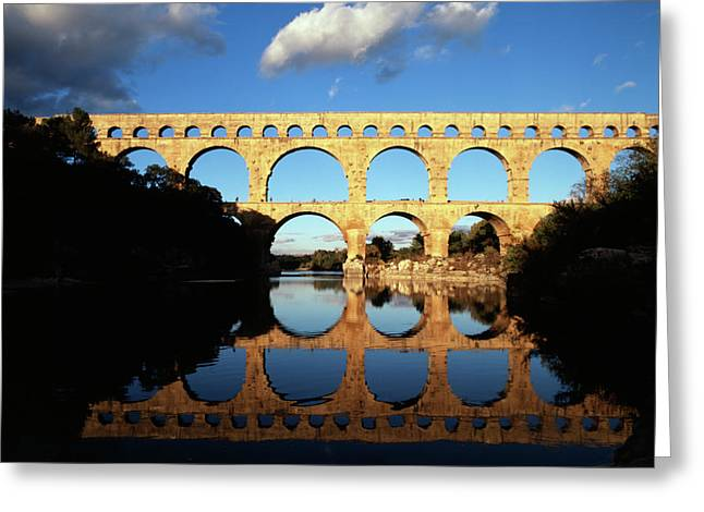 France, Languedoc, Gard, View Of Pont Greeting Card