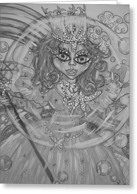 #5 Glinda The Good Witch In Black And White Greeting Card by Terri Allbright