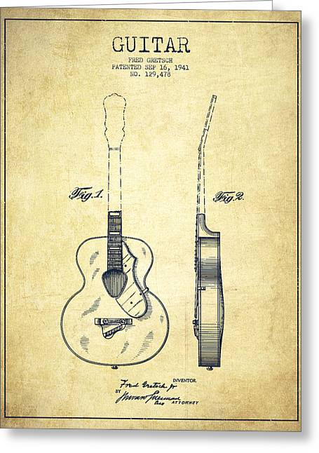 Gretsch Guitar Patent Drawing From 1941 - Vintage Greeting Card