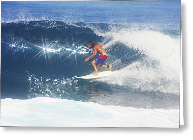 Hawaii, Oahu, North Shore, Pipeline, Surfer, Riding A Wave. Greeting Card