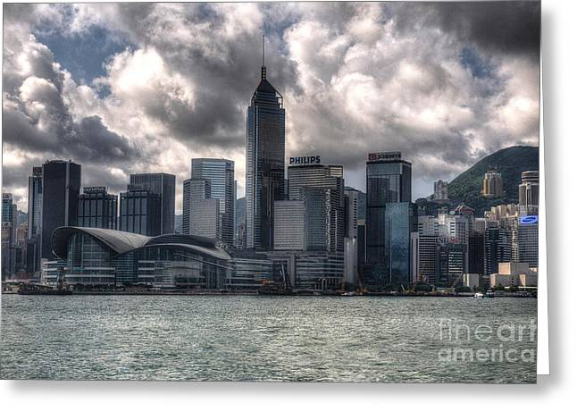 Greeting Card featuring the photograph Hong Kong Harbour by Joe  Ng