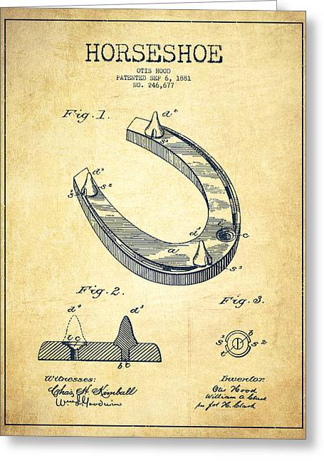 Horseshoe Patent Drawing From 1881 Greeting Card