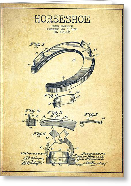 Horseshoe Patent Drawing From 1898 Greeting Card by Aged Pixel