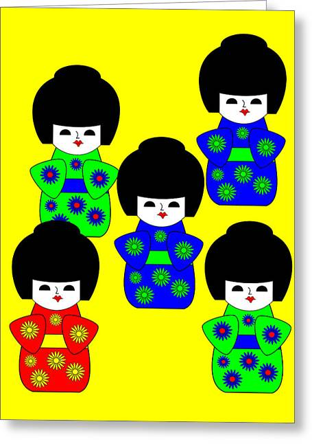 5 Japanese Dolls On Yellow Greeting Card by Asbjorn Lonvig
